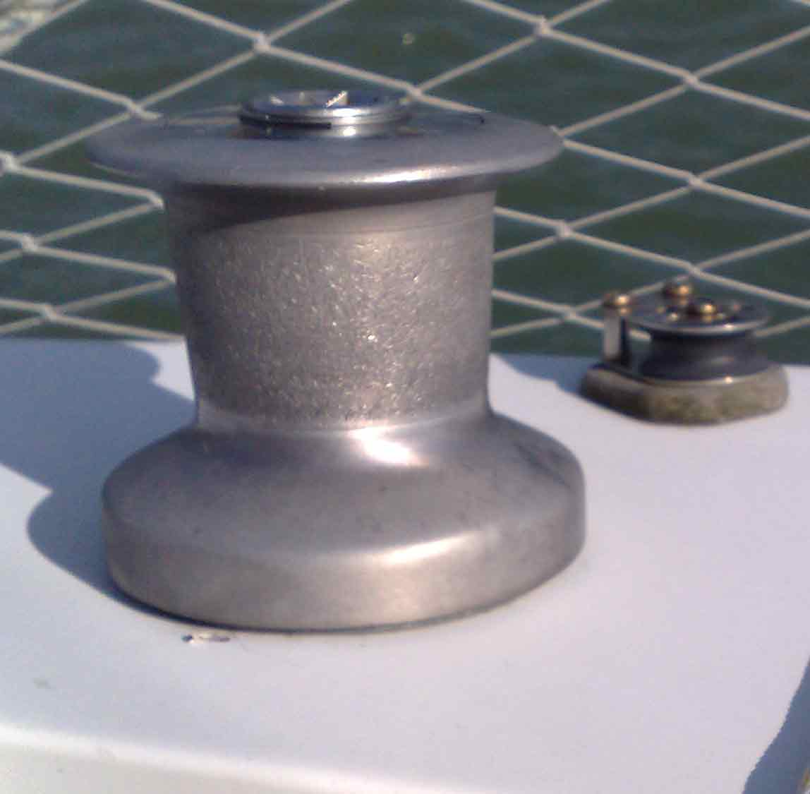 Spinnaker winch and turning block
